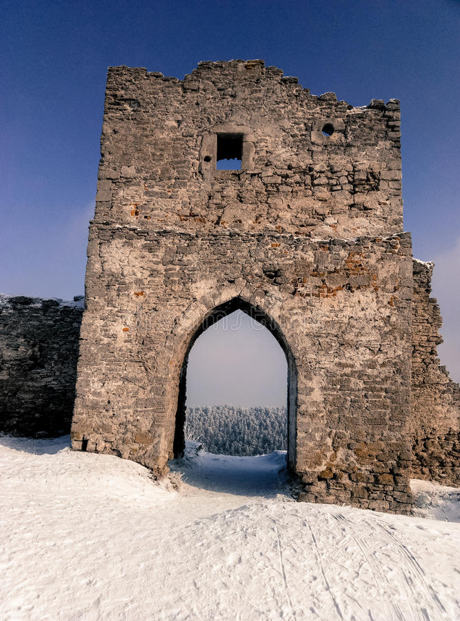 Ruins of the old castle, a beautiful winter landscape memories of history. The ruins of the old castle, a beautiful winter landscape memories of history stock photos