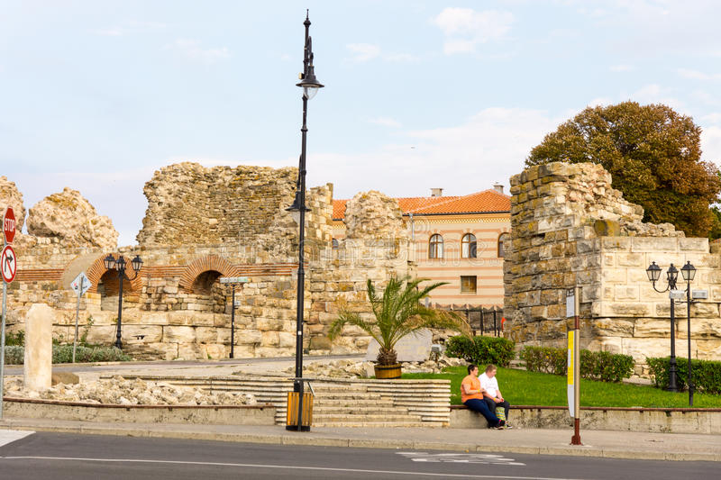 The ruins of the old castle wall in Nessebar, Bulgaria stock photos