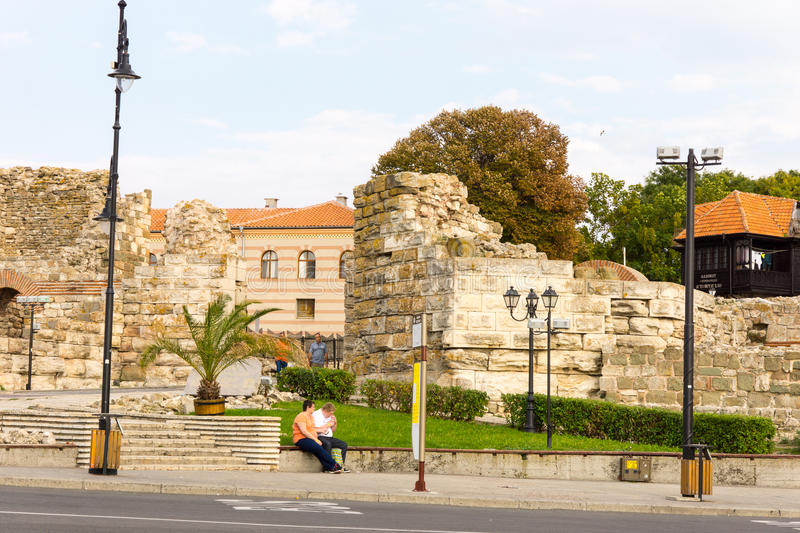 The ruins of the old castle wall in Nessebar in Bulgaria stock images