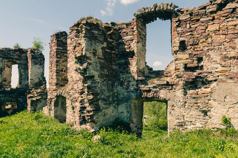 Ruins of old castle in West Ukraine stock photo