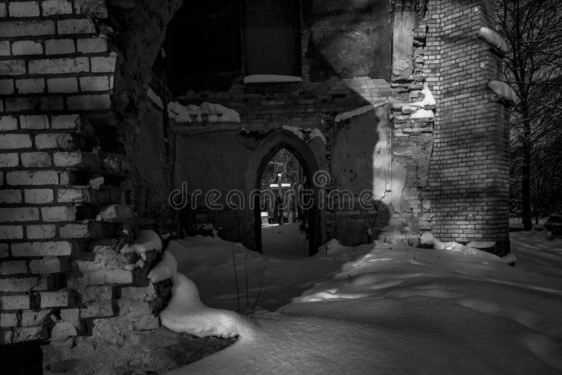 Ruins of an old church at night royalty free stock photo