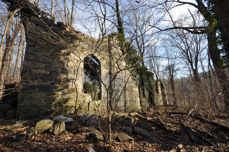 Ruins of an Old Church. The ruins of the Saint Stanislaus Kostka Church in Daniels, Maryland. The church was built in the late 1800s and destroyed by a lightning stock images