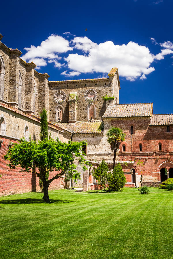 Ruins of an old church in Tuscany royalty free stock images