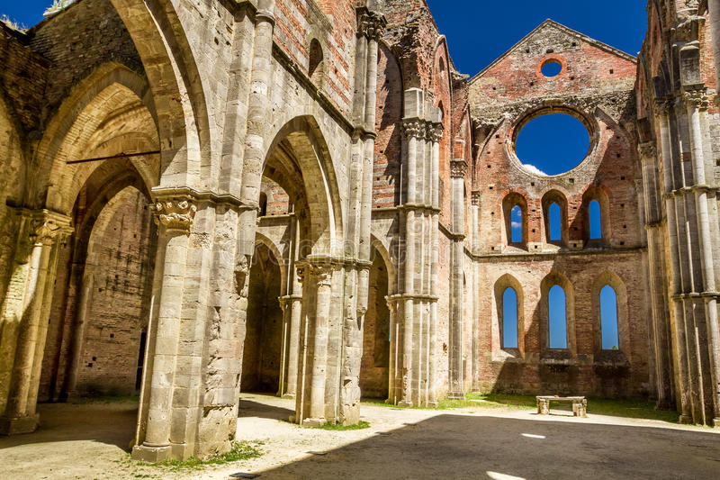 Ruins of an old church in Tuscany stock photography