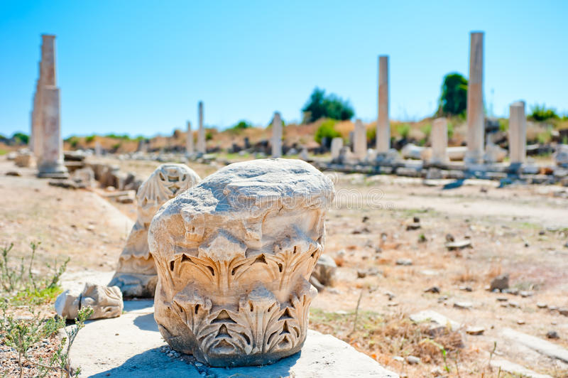 Ruins of old city Side, Antalya stock photos