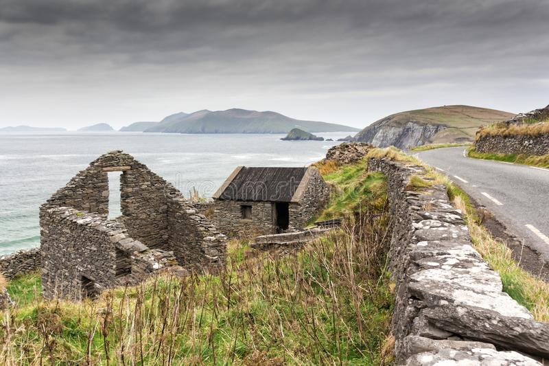 Irish Farmhouse Ruins on Cliff Road royalty free stock photography