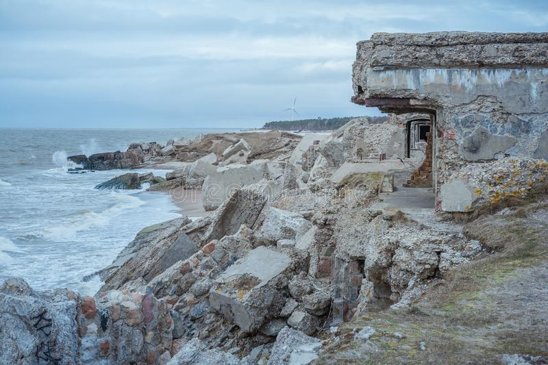 Ruins of old forts in the Baltic sea. Ruins of northern forts - Karosta on the beach in Liepaja. Latvia royalty free stock photos