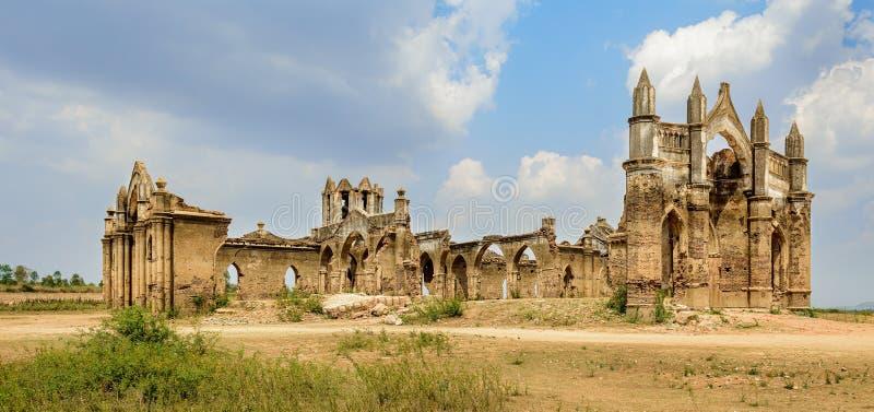 Ruins of old French Rosary church, Settihalli, Karnataka royalty free stock images