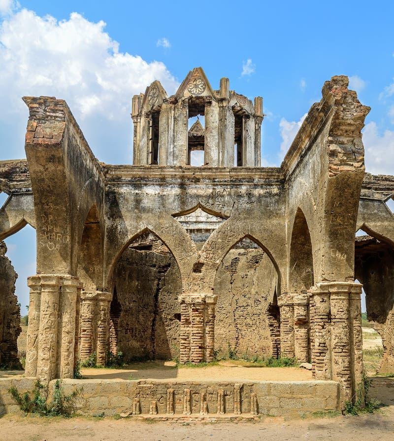 Ruins of old French Rosary church, Settihalli, Karnataka stock photography