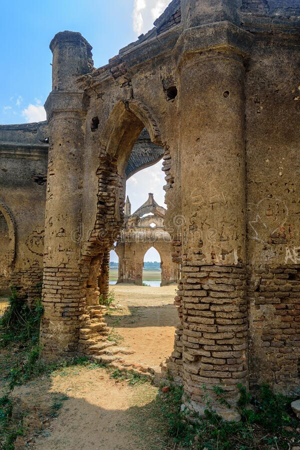 Ruins of old French Rosary church, Settihalli, Karnataka stock images