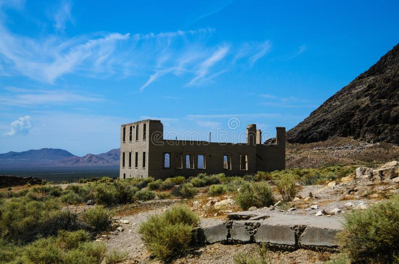 Ruins of Rhyolite. Ruins of the old Ghost town of Rhyolite, Nevada, on an early August morning royalty free stock image