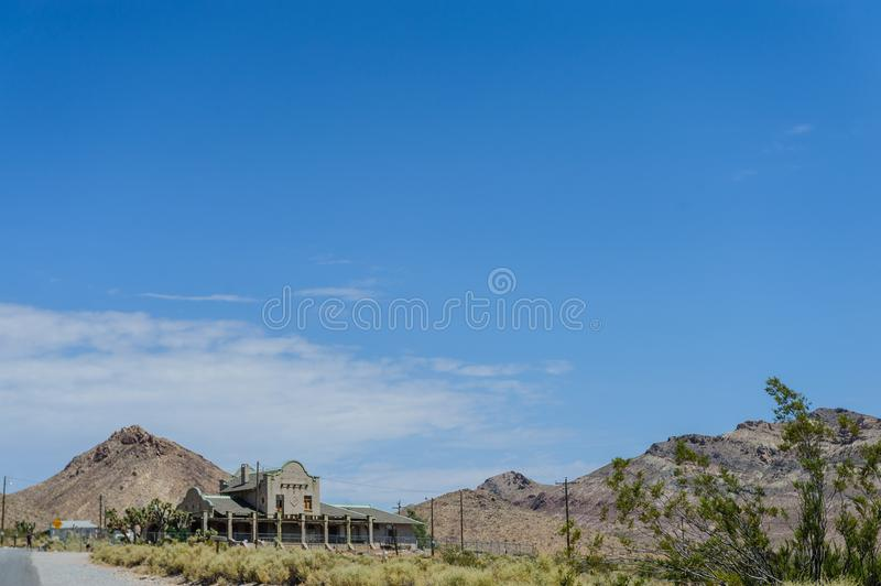 Ruins of Rhyolite. Ruins of the old Ghost town of Rhyolite, Nevada, on an early August morning stock image