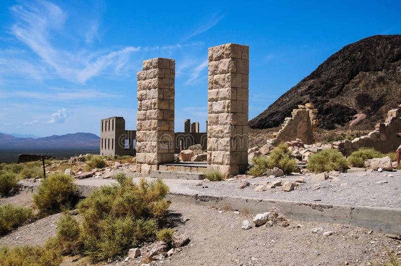 Ruins of Rhyolite. Ruins of the old Ghost town of Rhyolite, Nevada, on an early August morning royalty free stock images