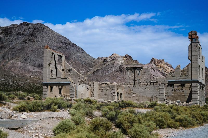 Ruins of Rhyolite. Ruins of the old Ghost town of Rhyolite, Nevada, on an early August morning royalty free stock photos