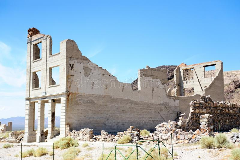 Ruins of Rhyolite. Ruins of the old Ghost town of Rhyolite, Nevada, on an early August morning stock photography