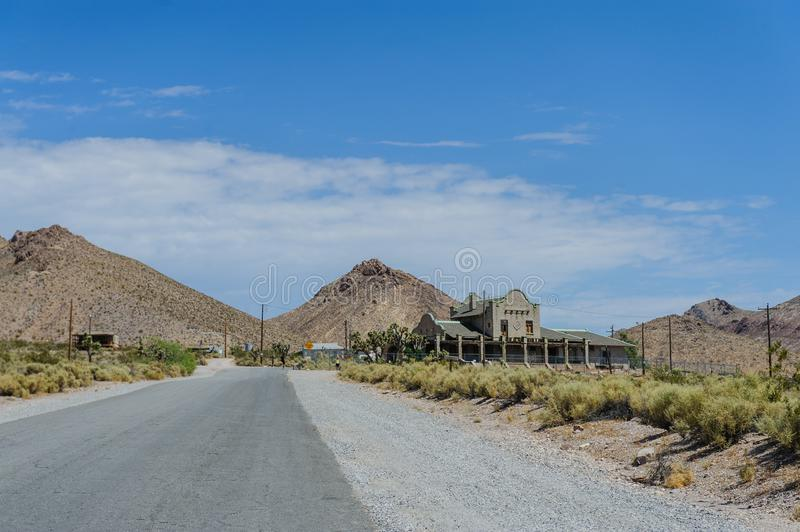 Ruins of Rhyolite. Ruins of the old Ghost town of Rhyolite, Nevada, on an early August morning stock photo