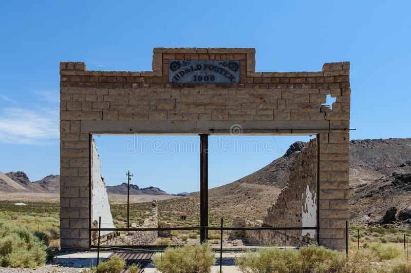 Ruins of Rhyolite. Ruins of the old Ghost town of Rhyolite, Nevada, on an early August morning royalty free stock photo