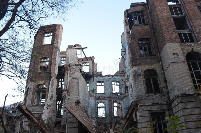 The ruins of the old hospital royalty free stock photo