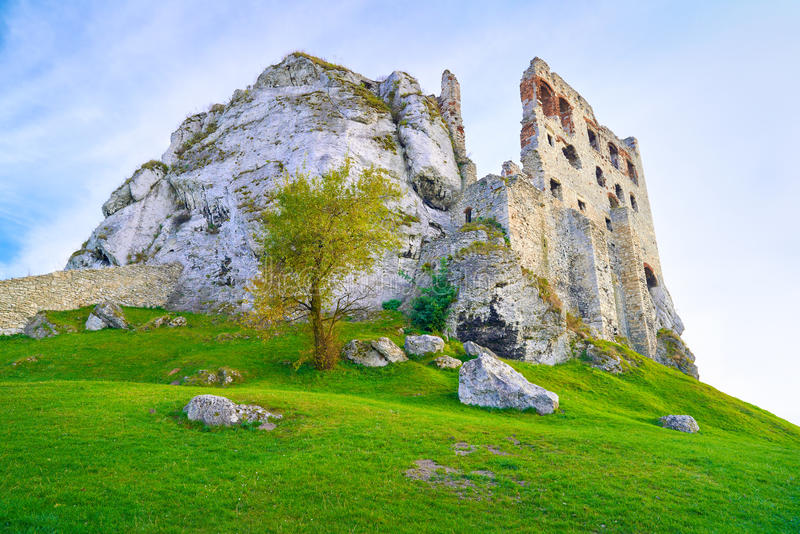 The Ruins of Old Medieval Castle on Rocks. Surreal stock photography