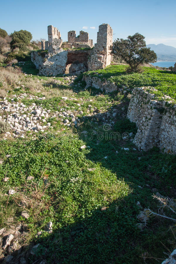 Ruins of the old Navarino castle, Peloponnesus, Greece stock photography