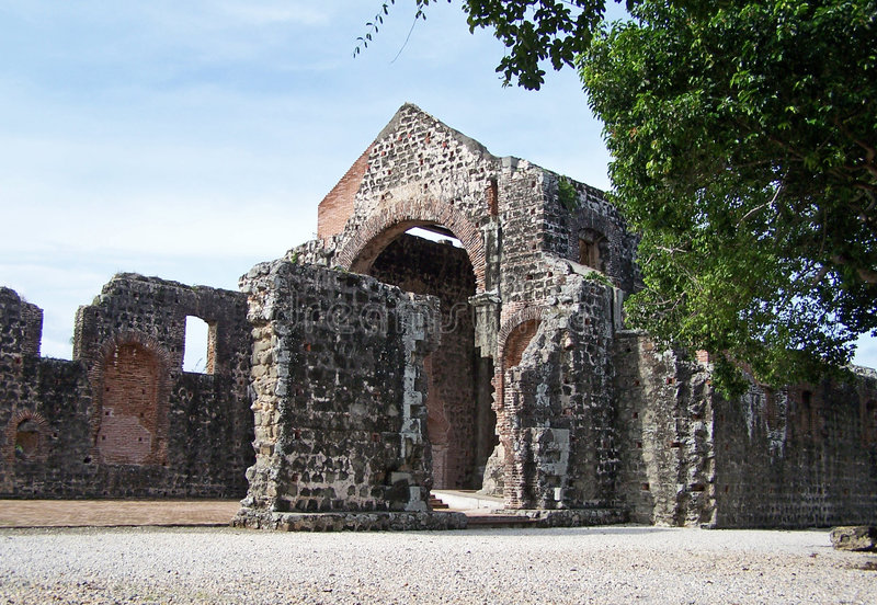 Ruins of Old Panama. Old Panama (Panama Vieja) - UNESCO World Heritage site stock photography