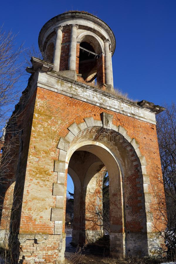 Ruins of an old russian church from a red brick stock photography