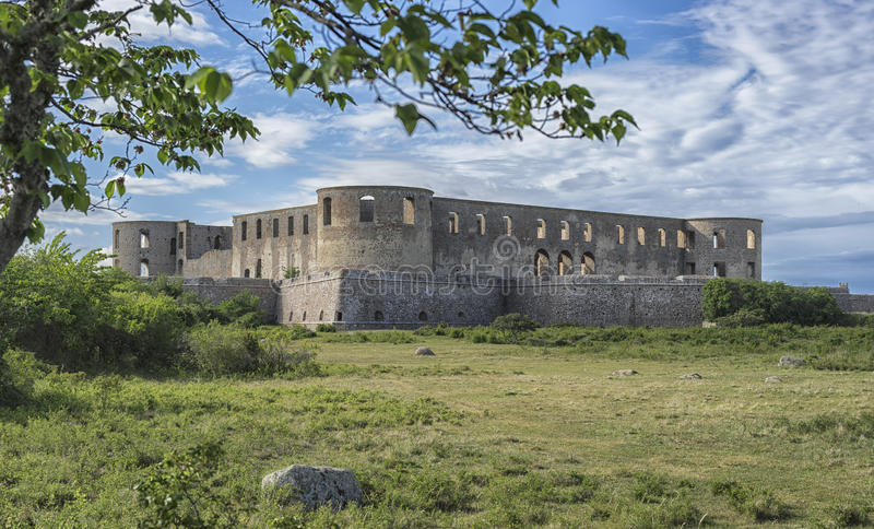 Ruins of old scandinavian castle royalty free stock photo