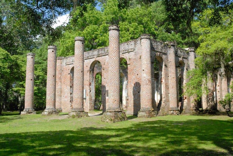 Ruins of Old Sheldon Church. Near Beaufort, South Carolina, United States stock photography
