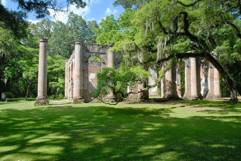 Ruins of Old Sheldon Church. Near Beaufort, South Carolina, United States stock photo