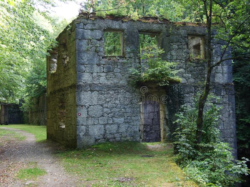 Ruins of an old stone mill along the river Kamačnik. Ruins of an old stone mill royalty free stock photos