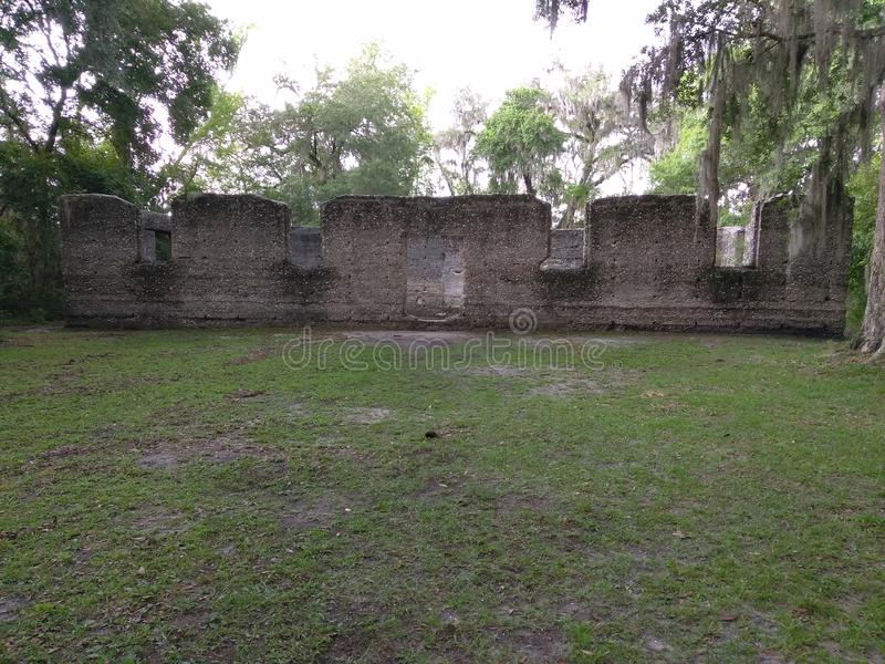 Ruins of an old sugar mill with tabby concrete royalty free stock image