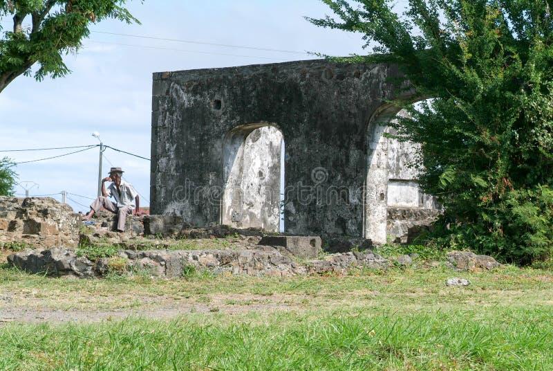 Ruins of an old sugar refinery at Saint Gilles stock image