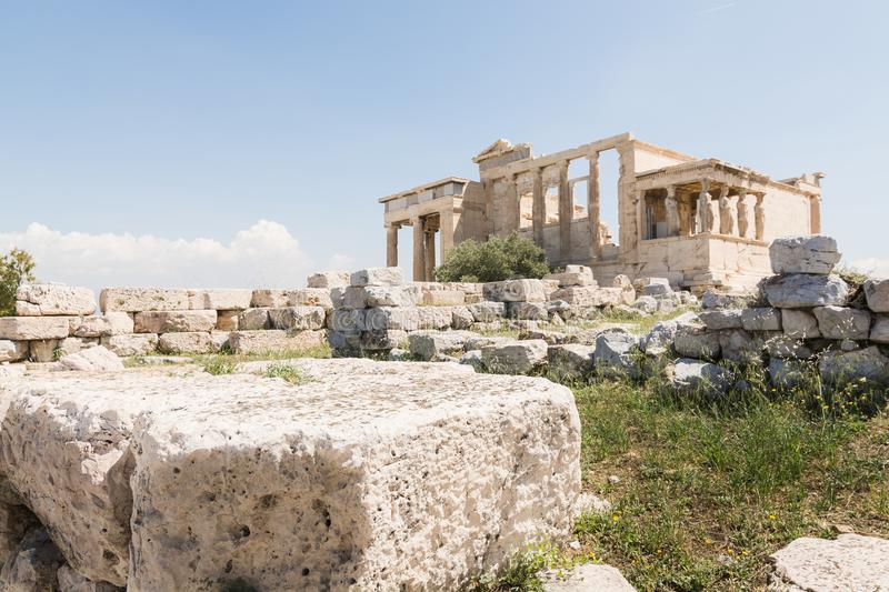 Ruins of old temple of Athena Polias near Parthenon temple, Athens, Greece stock photo