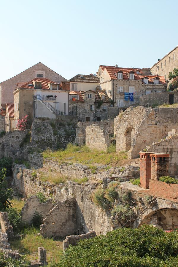 Ruins in the old town of Dubrovnik Croatia royalty free stock photography