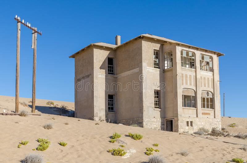 Ruins of once prosperous German mining town Kolmanskop in the Namib desert near Luderitz, Namibia, Southern Africa.  stock images