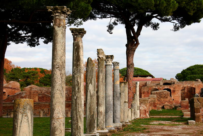 Ruins of Ostia Antica. Ancient harbour of Rome, Lazio, Italy royalty free stock images
