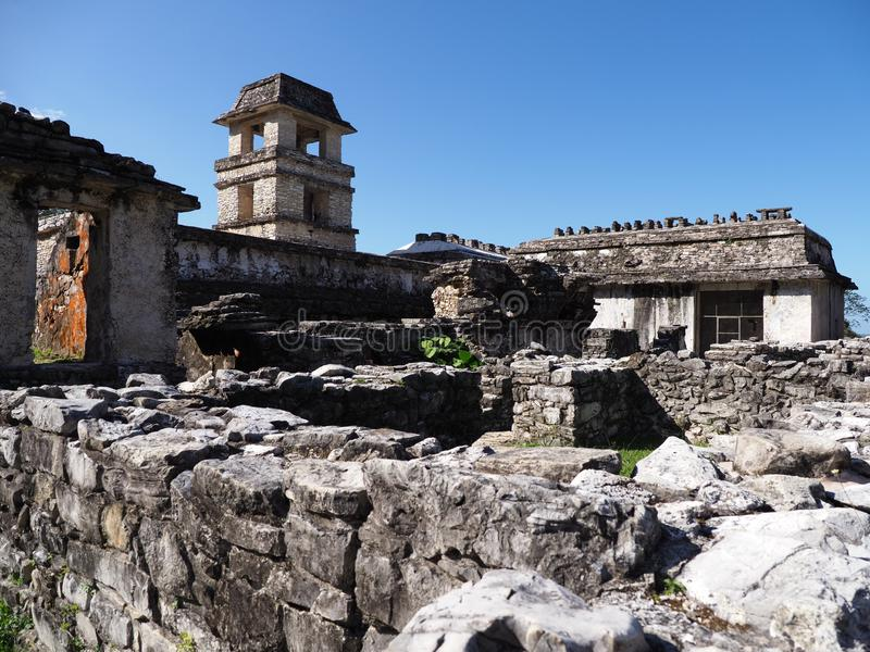 Ruins of the palace at ancient Mayan city of Palenque in Mexico stock photography
