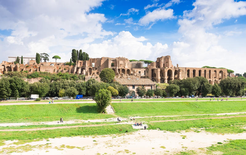 Ruins of Palatine hill palace and Circus Maximus in Rome. Italy royalty free stock image