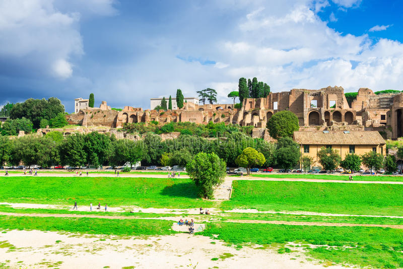 Ruins of Palatine hill palace and Circus Maximus in Rome. Italy royalty free stock photo