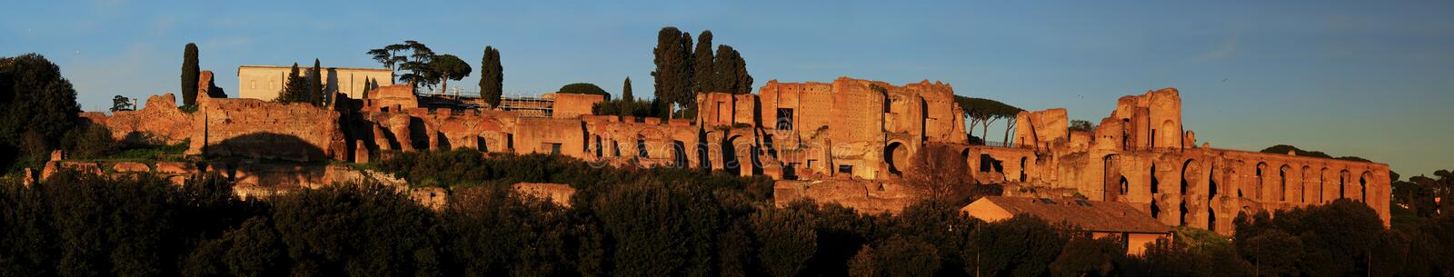Ruins of Palatine hill palace in Rome. Italy panorama view royalty free stock photo