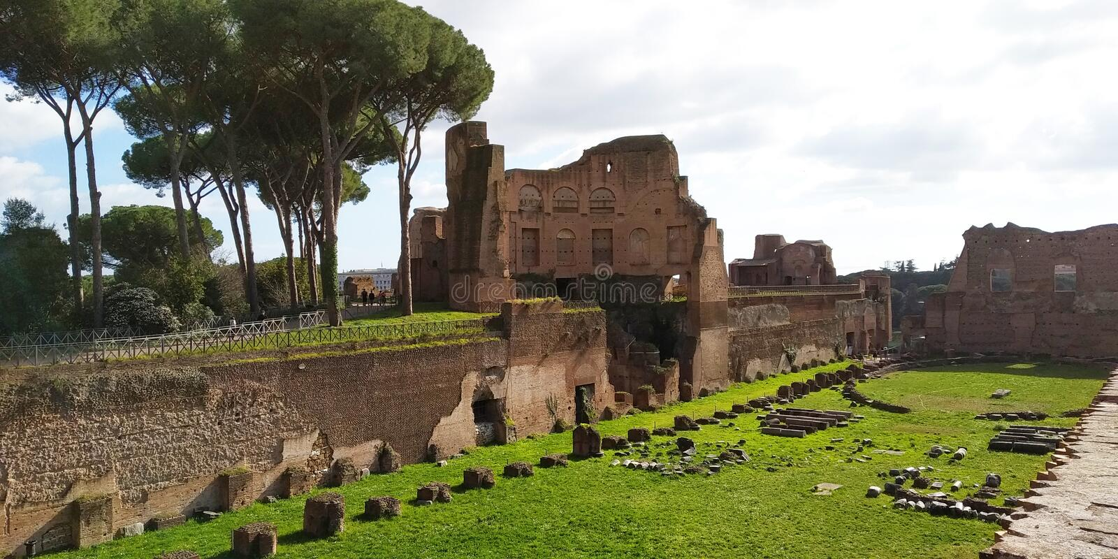 Ruins on the Palatino hill in Rome royalty free stock photos