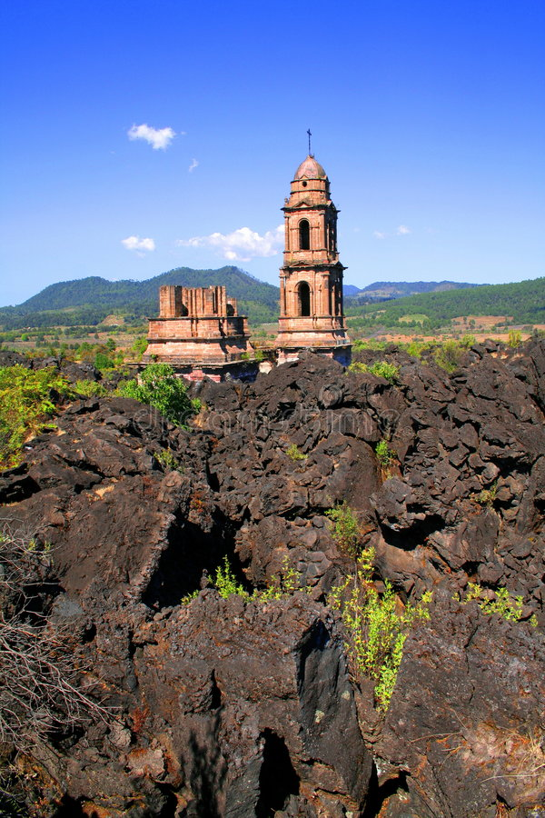 Ruins of the parangaricutiro royalty free stock photography