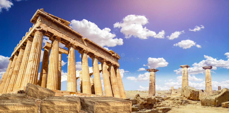 Download Ruins Of Parthenon Temple Of Goddess Athena In Acropolis Athens, Greece Stock Photo - Image of blue, greek: 90544102
