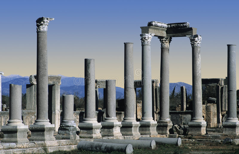 Ruins at Perge, Turkey. Greek and Roman Ruins at Perge, Turkey royalty free stock images