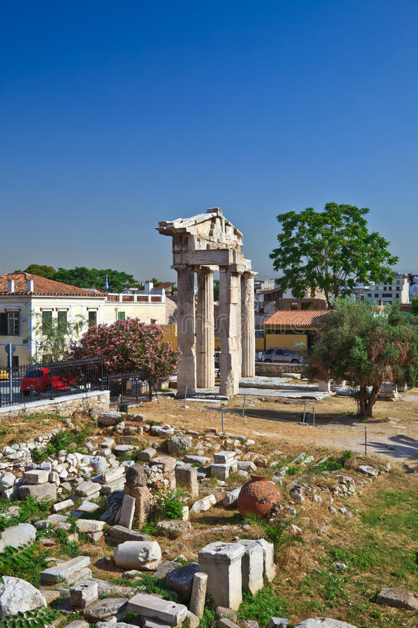 Download Ruins in Plaka area stock image. Image of antique, blue - 13643165