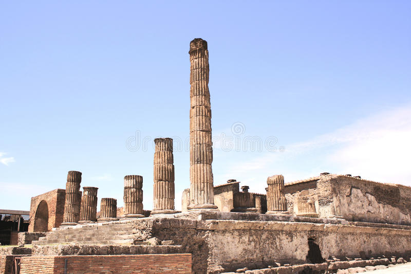 Ruins of Pompeii. Ancient columns royalty free stock photo