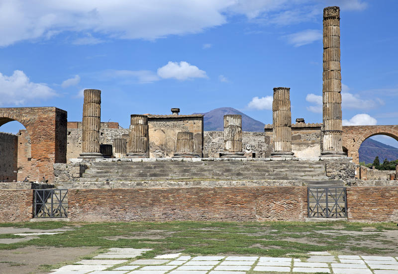 Ruins of Pompeii. Ancient Roman city of Pompeii, which was destroyed and buried by ash during the eruption of Mount Vesuvius in 79 ad stock photography
