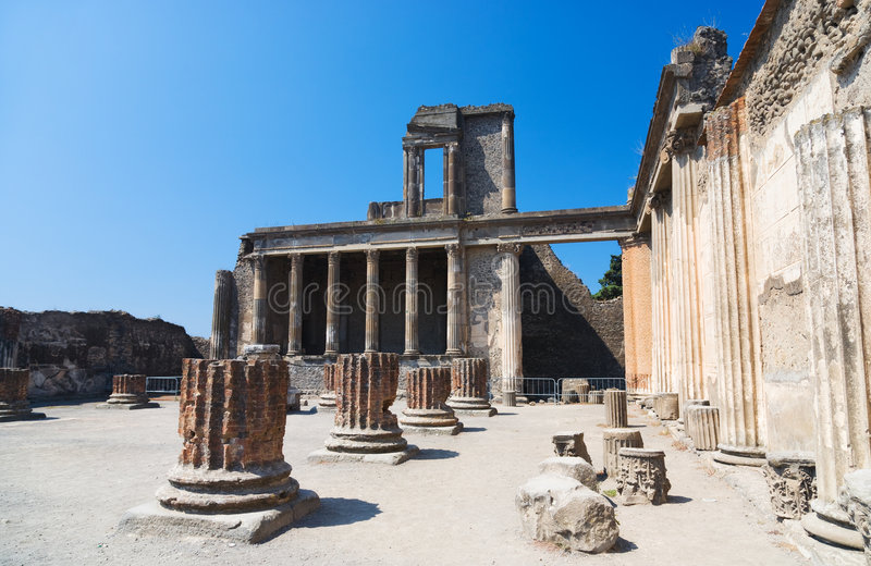 Ruins of Pompeii Italy. Ruinous columns royalty free stock photos