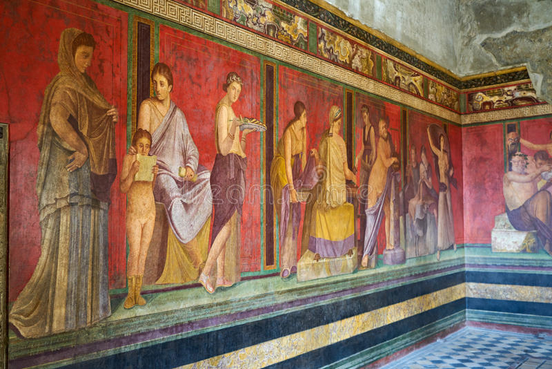 Ruins of Pompeii, Italy. Famous mural painting in Pompeii, Italy royalty free stock photo
