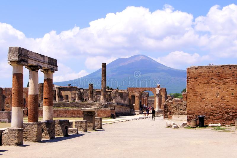 Ruins of Pompeii, Italy. Mount Vesuvius through the ruins of Pompeii, Italy royalty free stock image